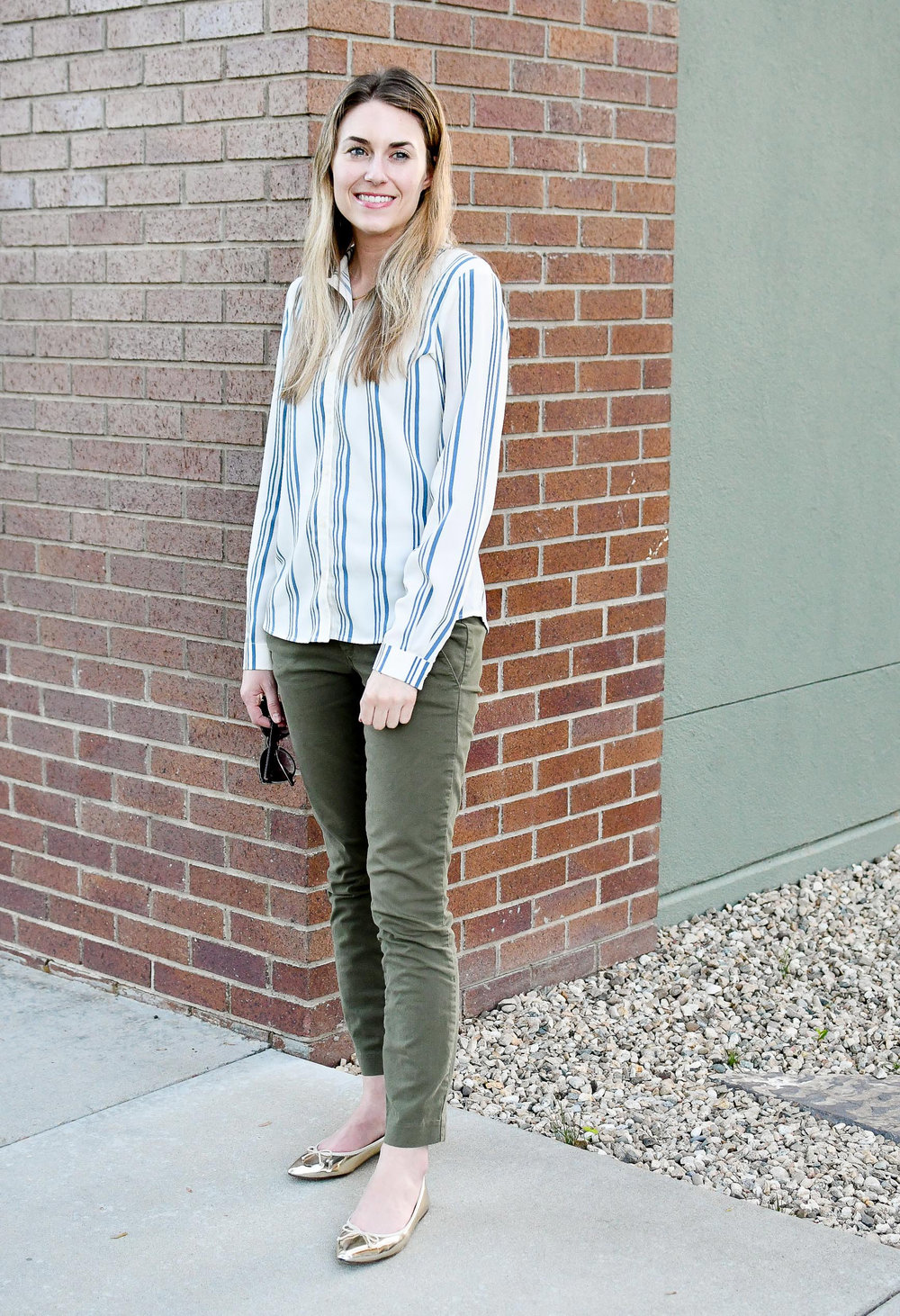 Striped shirt work outfit with green chinos — Cotton Cashmere Cat Hair