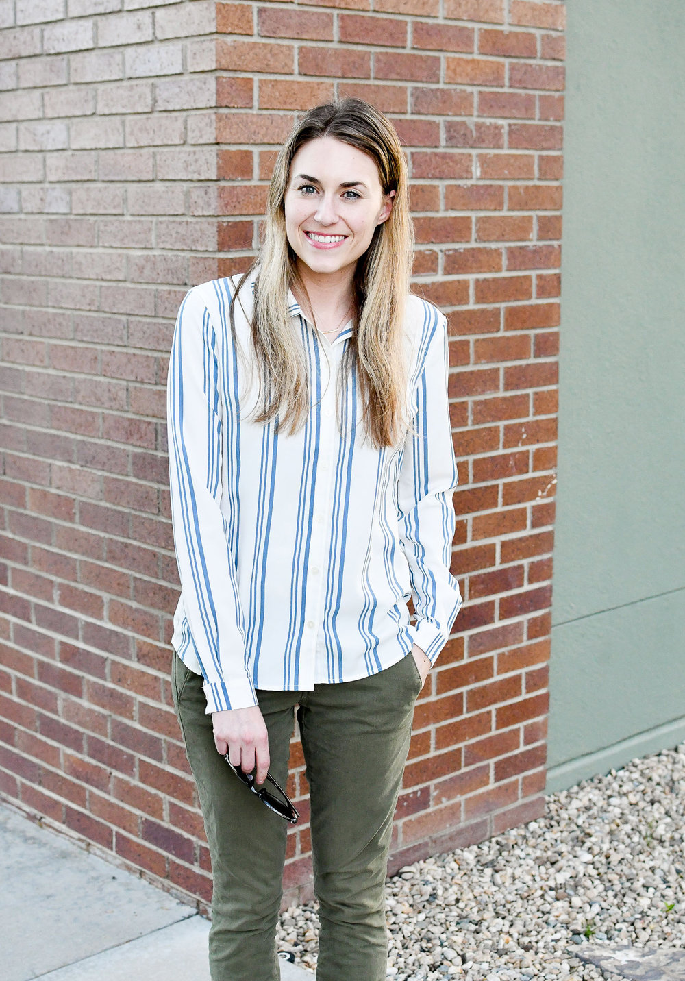 Blue striped shirt and green chinos — Cotton Cashmere Cat Hair