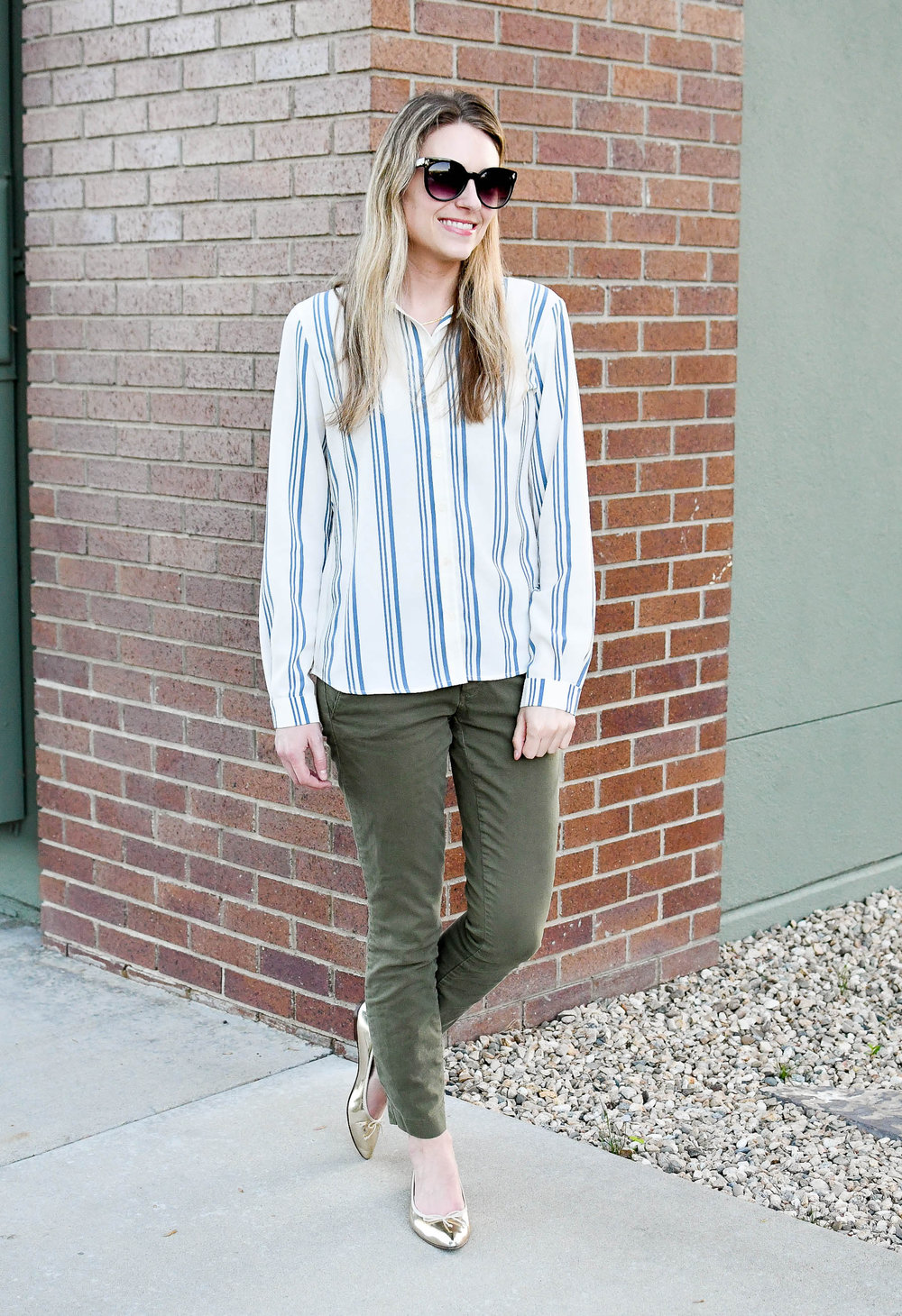 Green chino spring work outfit with gold flats — Cotton Cashmere Cat Hair