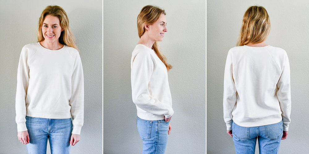 Everlane The Slim Classic French Terry Crew in bone — Cotton Cashmere Cat Hair
