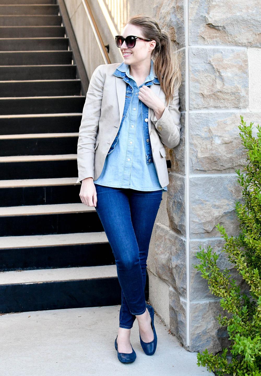 Denim on denim spring outfit — Cotton Cashmere Cat Hair