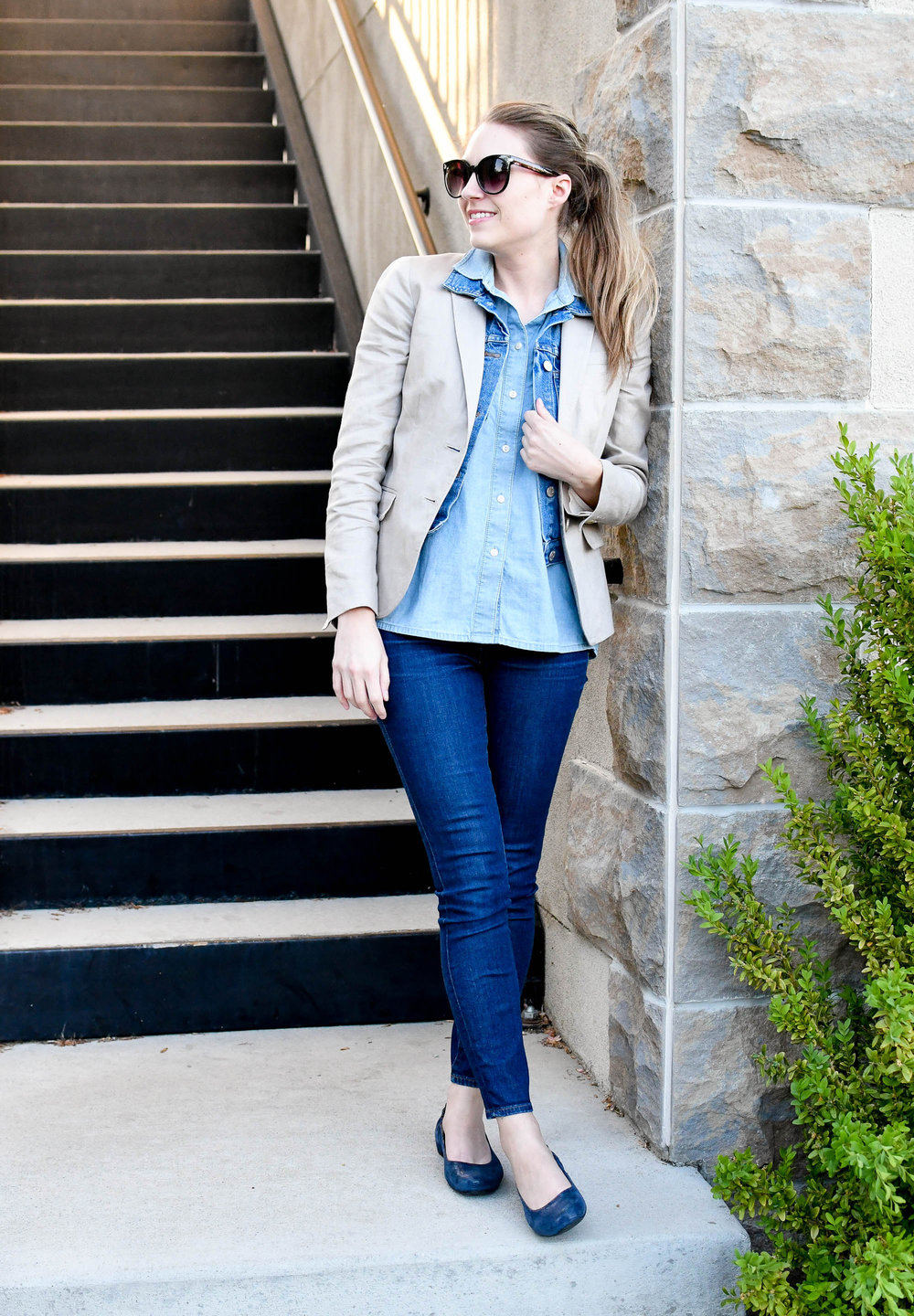 Spring work outfit with layered denim — Cotton Cashmere Cat Hair