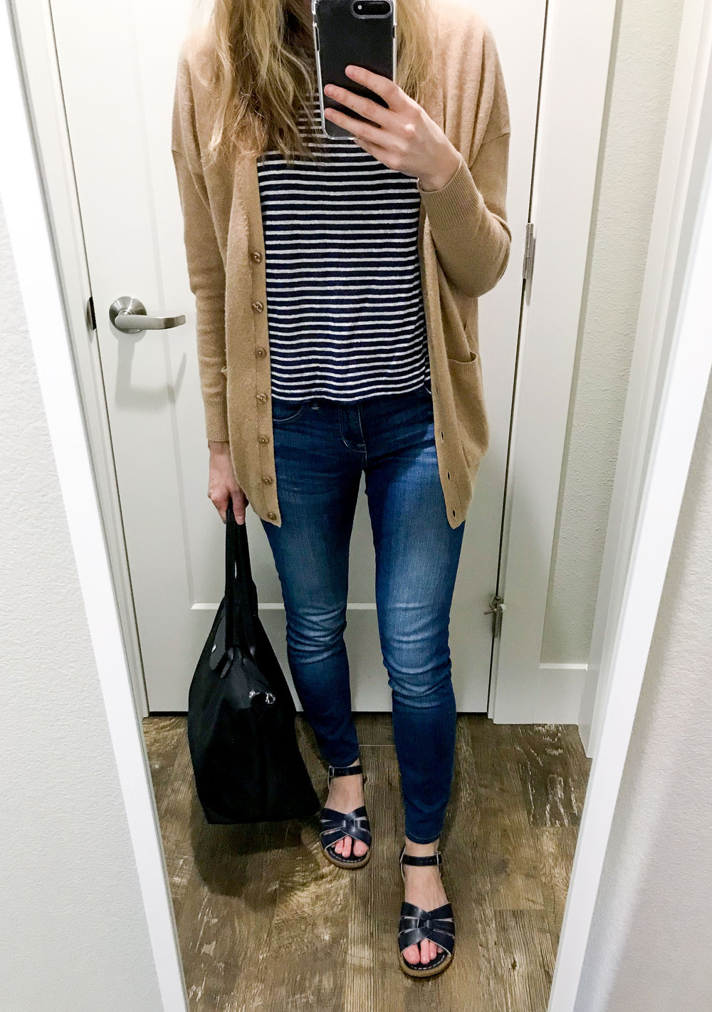 Work outfit with striped tee and denim — Cotton Cashmere Cat Hair