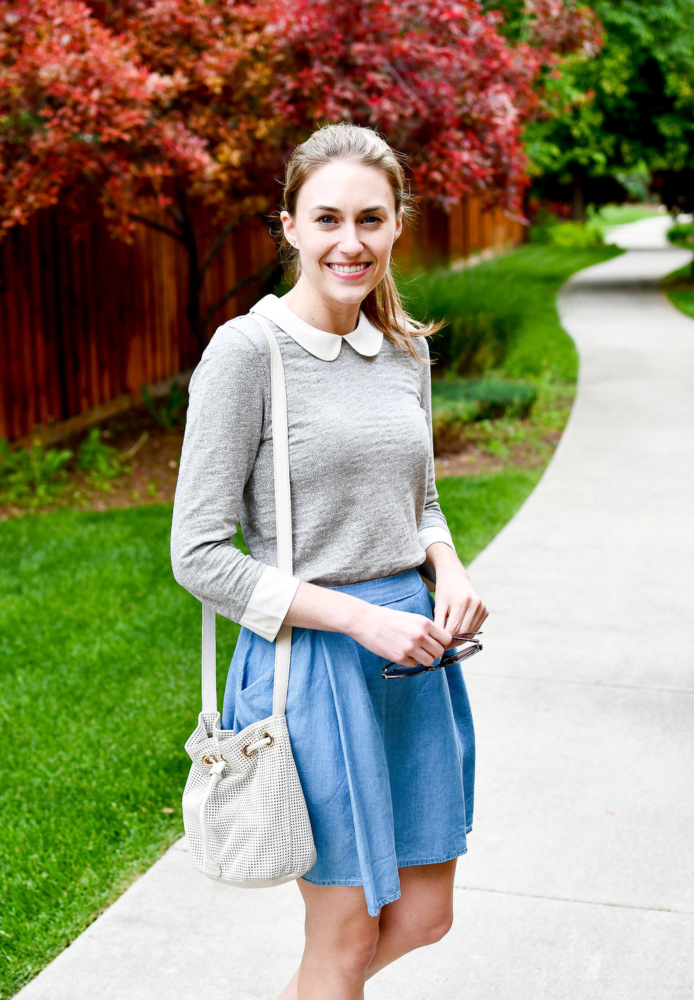 Spring outfit with Peter Pan-collared top — Cotton Cashmere Cat Hair