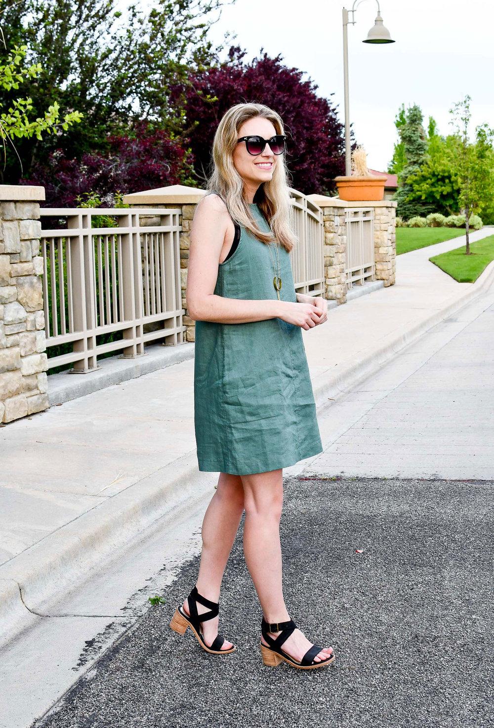 Moss green A-line linen dress outfit — Cotton Cashmere Cat Hair