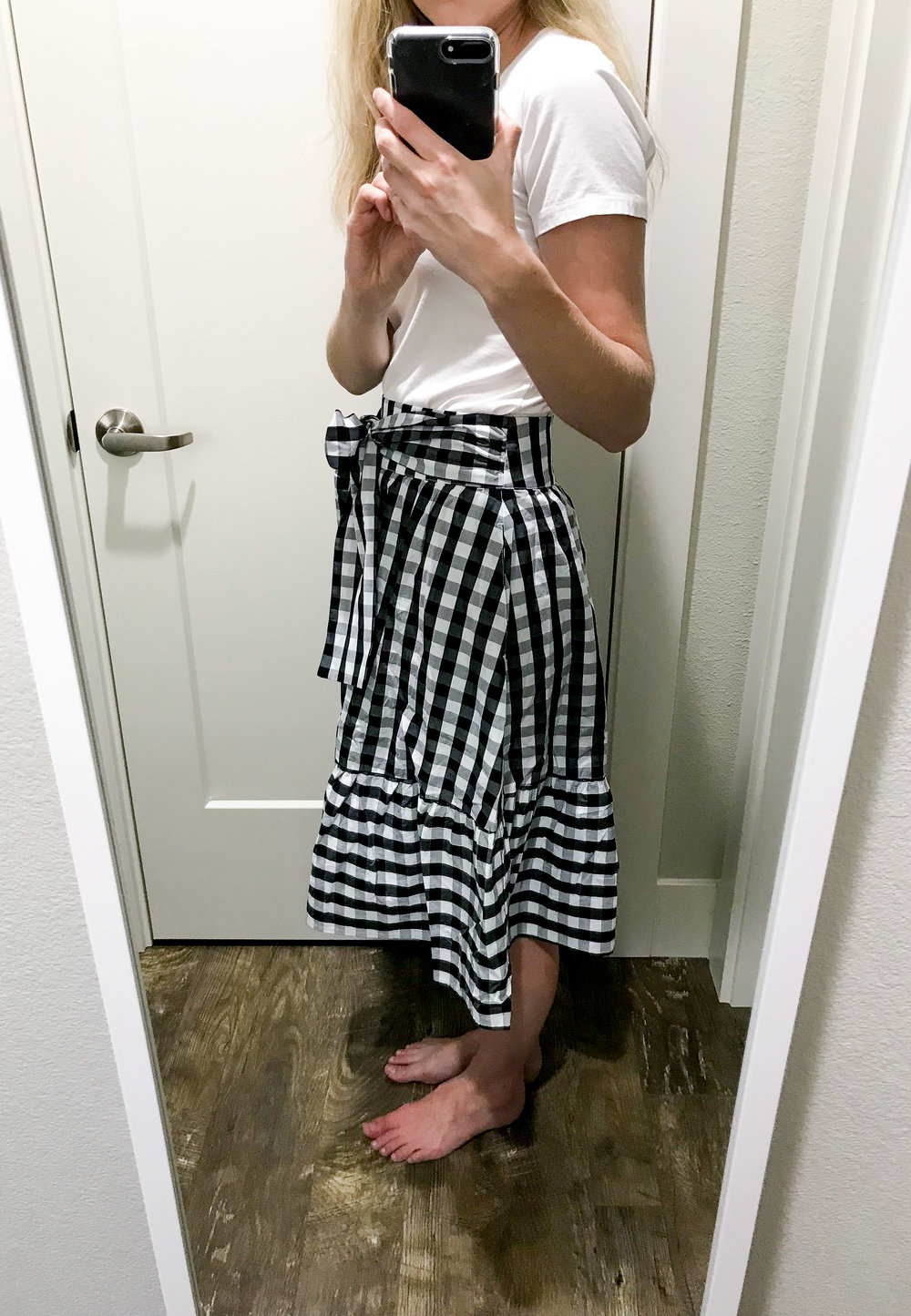 J.Crew Factory tie-waist midi skirt in gingham — Cotton Cashmere Cat Hair