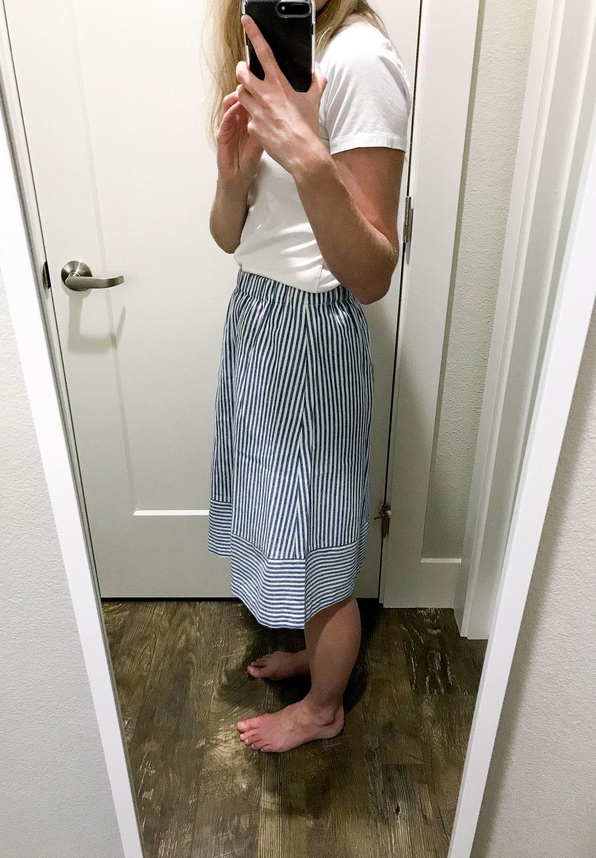 J.Crew Factory striped cotton-linen midi skirt in blue stripes — Cotton Cashmere Cat Hair