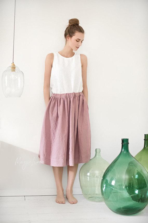 Magic Linen midi skirt
