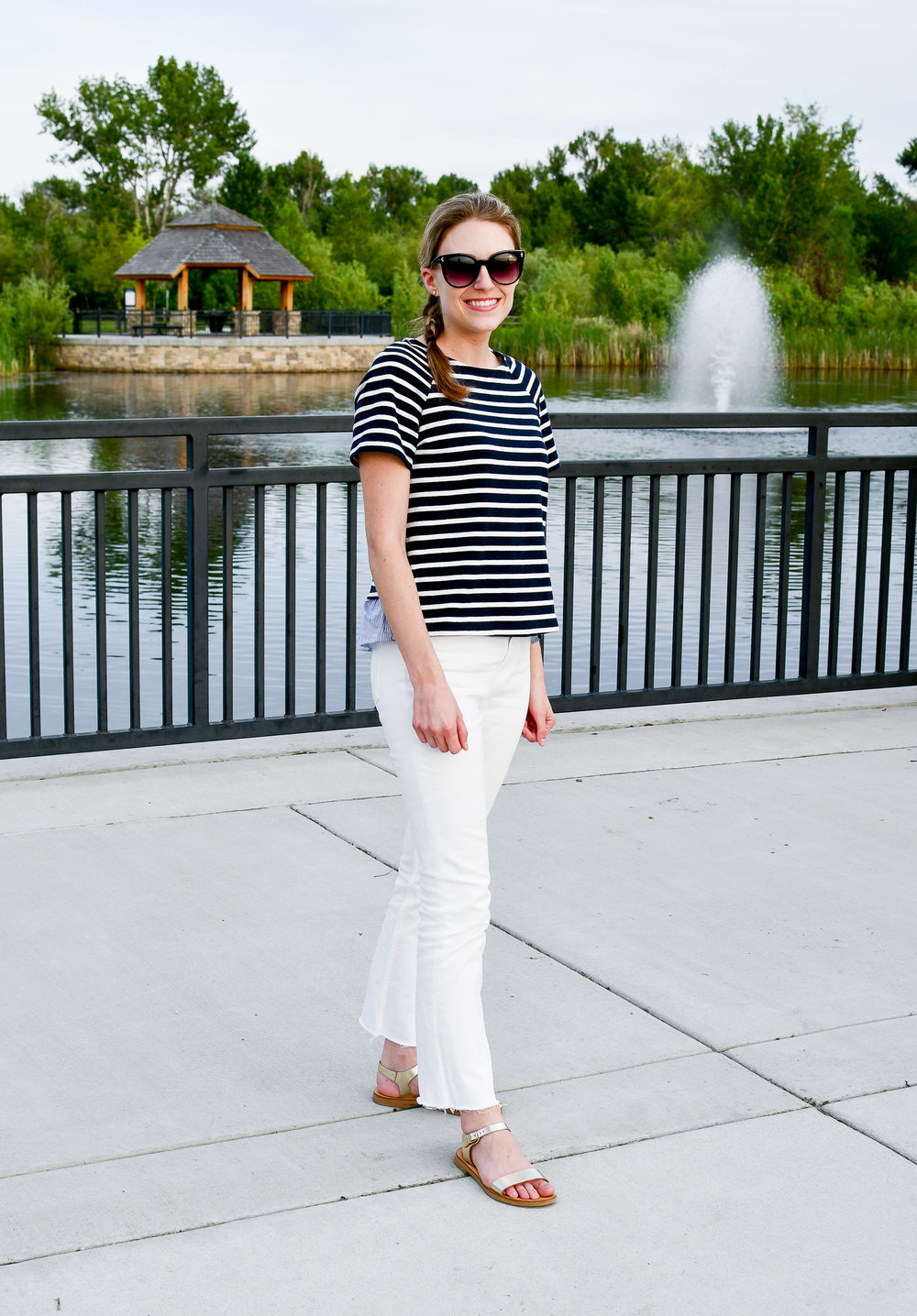 Spring outfit with navy striped top — Cotton Cashmere Cat Hair