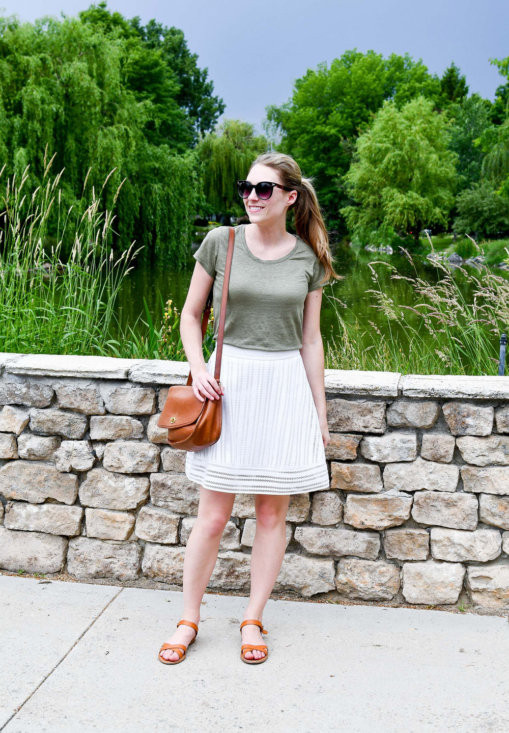Spring outfit with green tee and white mini skirt — Cotton Cashmere Cat Hair