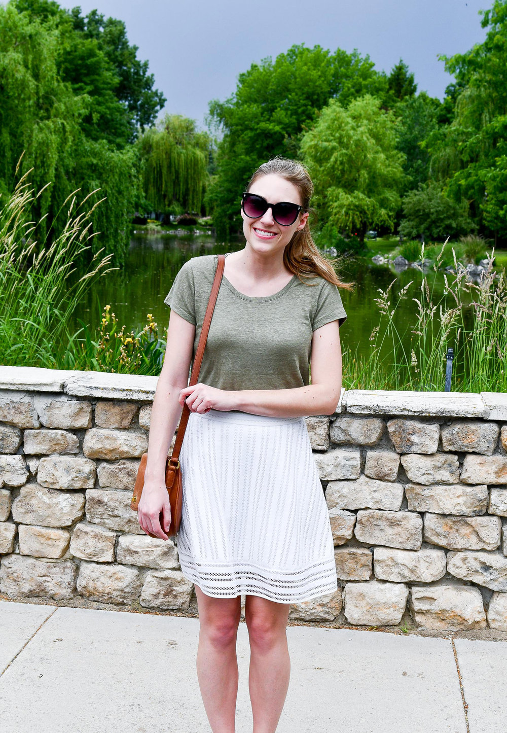 Green linen tee outfit with white skirt — Cotton Cashmere Cat Hair