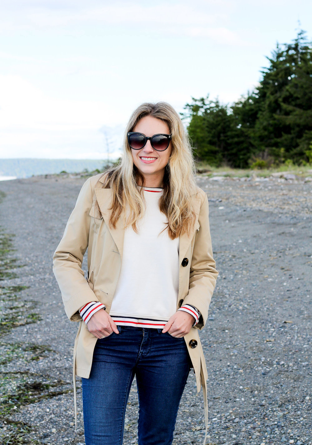 Short trench coat with Everlane French terry crew and striped tee — Cotton Cashmere Cat Hair