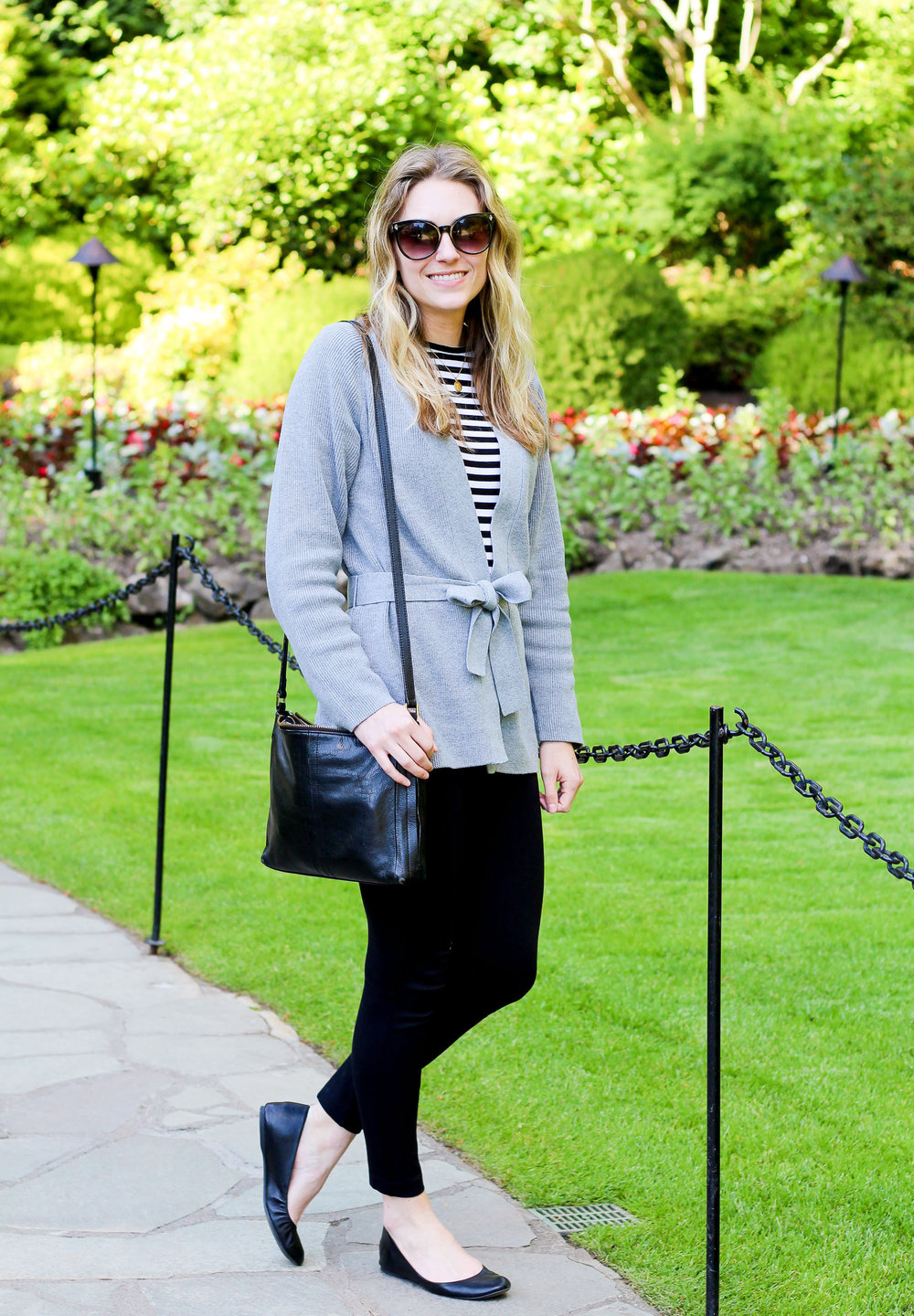 Spring outfit with wrap cardigan and black pants — Cotton Cashmere Cat Hair