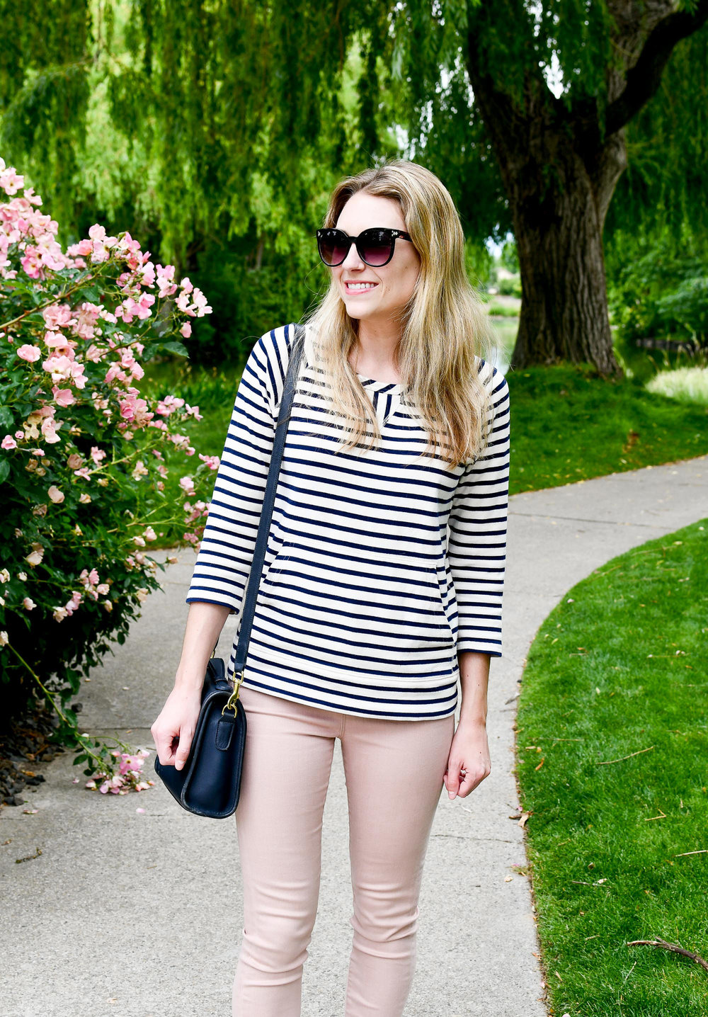 Navy striped sweatshirt outfit — Cotton Cashmere Cat Hair