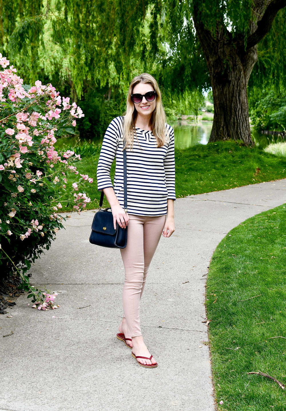 Pink and navy summer outfit — Cotton Cashmere Cat Hair