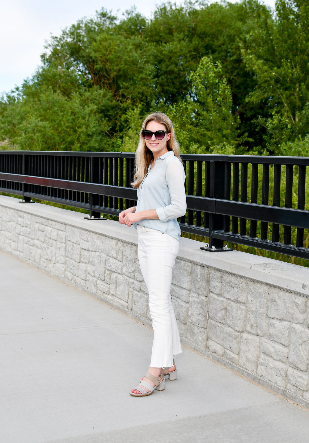 Summer work outfit with Earth Tierra sandals — Cotton Cashmere Cat Hair