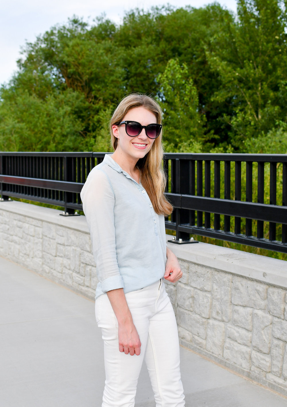 White jeans work outfit with light blue shirt — Cotton Cashmere Cat Hair