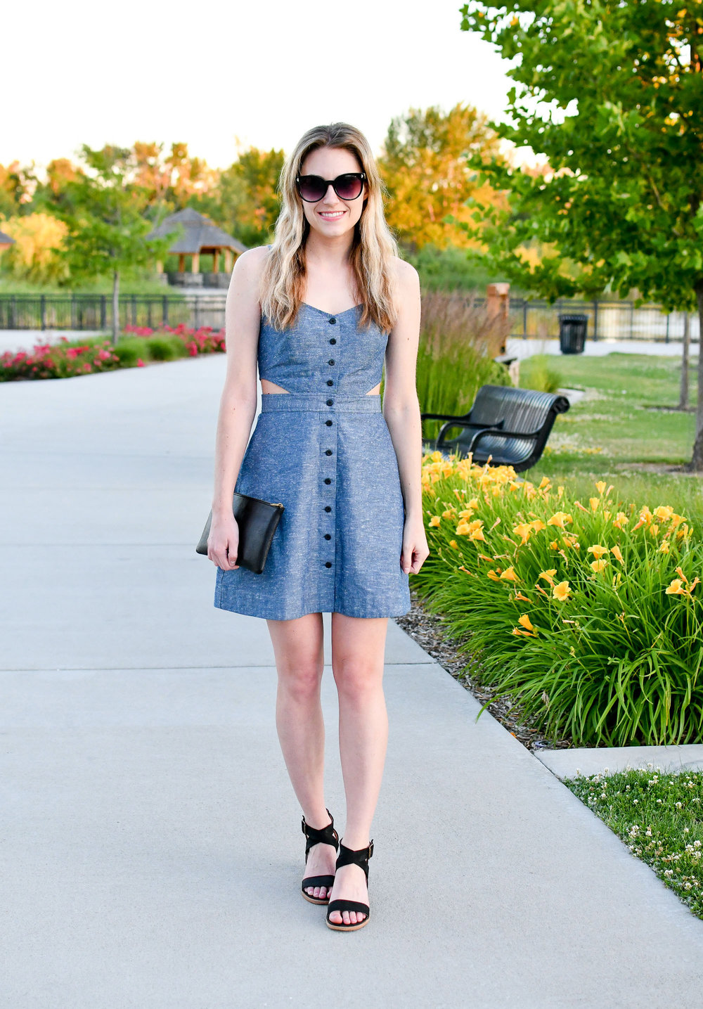 Madewell chambray cut-out mini dress — Cotton Cashmere Cat Hair