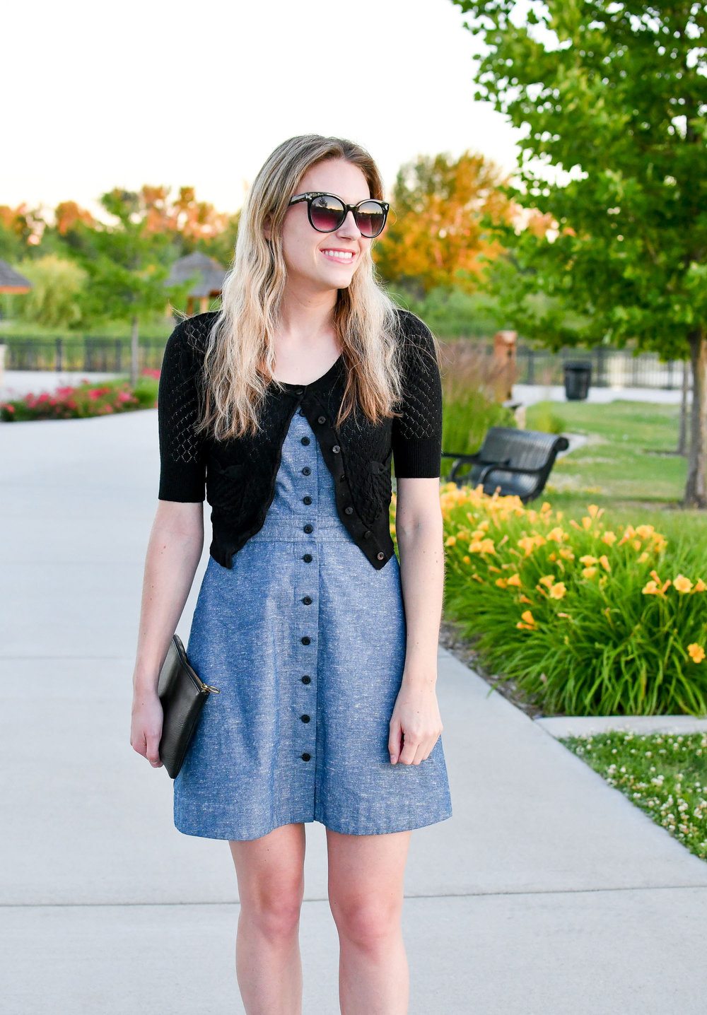 Chambray dress outfit with black cardigan — Cotton Cashmere Cat Hair