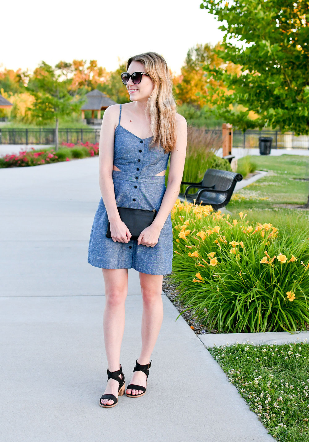 Wedding guest outfit with chambray cut-out dress — Cotton Cashmere Cat Hair