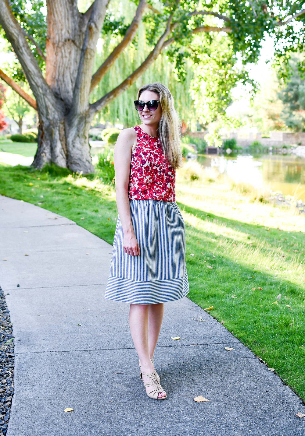 Red, white, and blue summer outfit — Cotton Cashmere Cat Hair