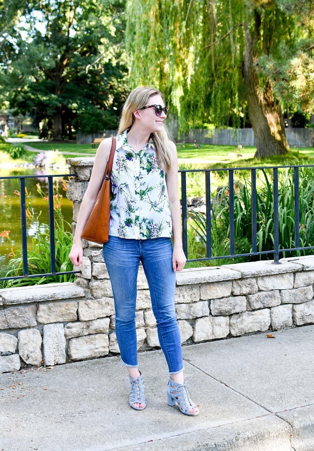 Tropical print shirt summer outfit — Cotton Cashmere Cat Hair