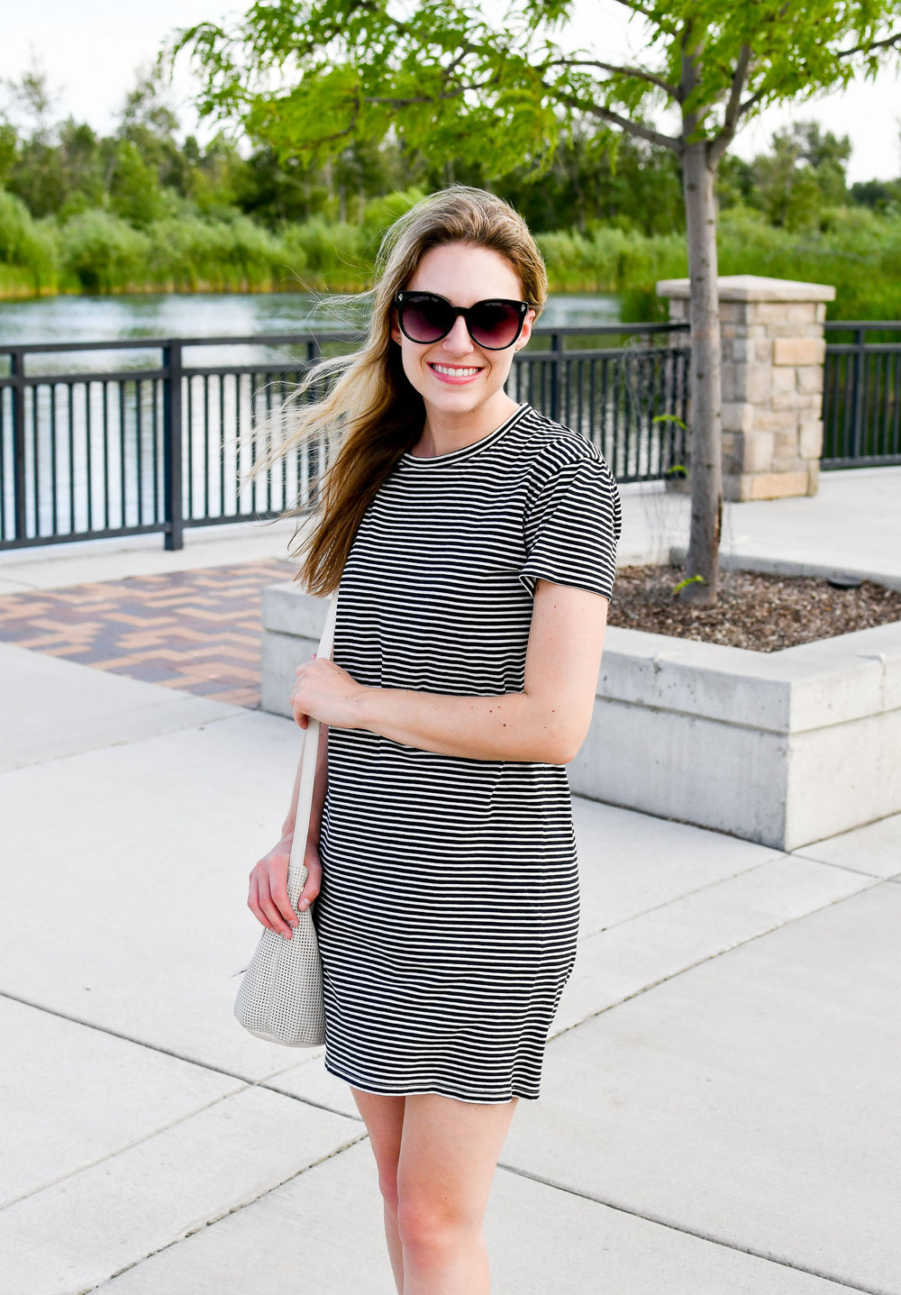 Everlane cotton box-cut tee dress — Cotton Cashmere Cat Hair