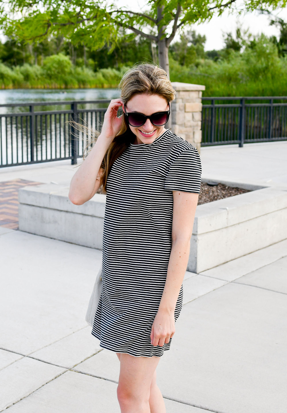 Everlane striped tee dress outfit — Cotton Cashmere Cat Hair
