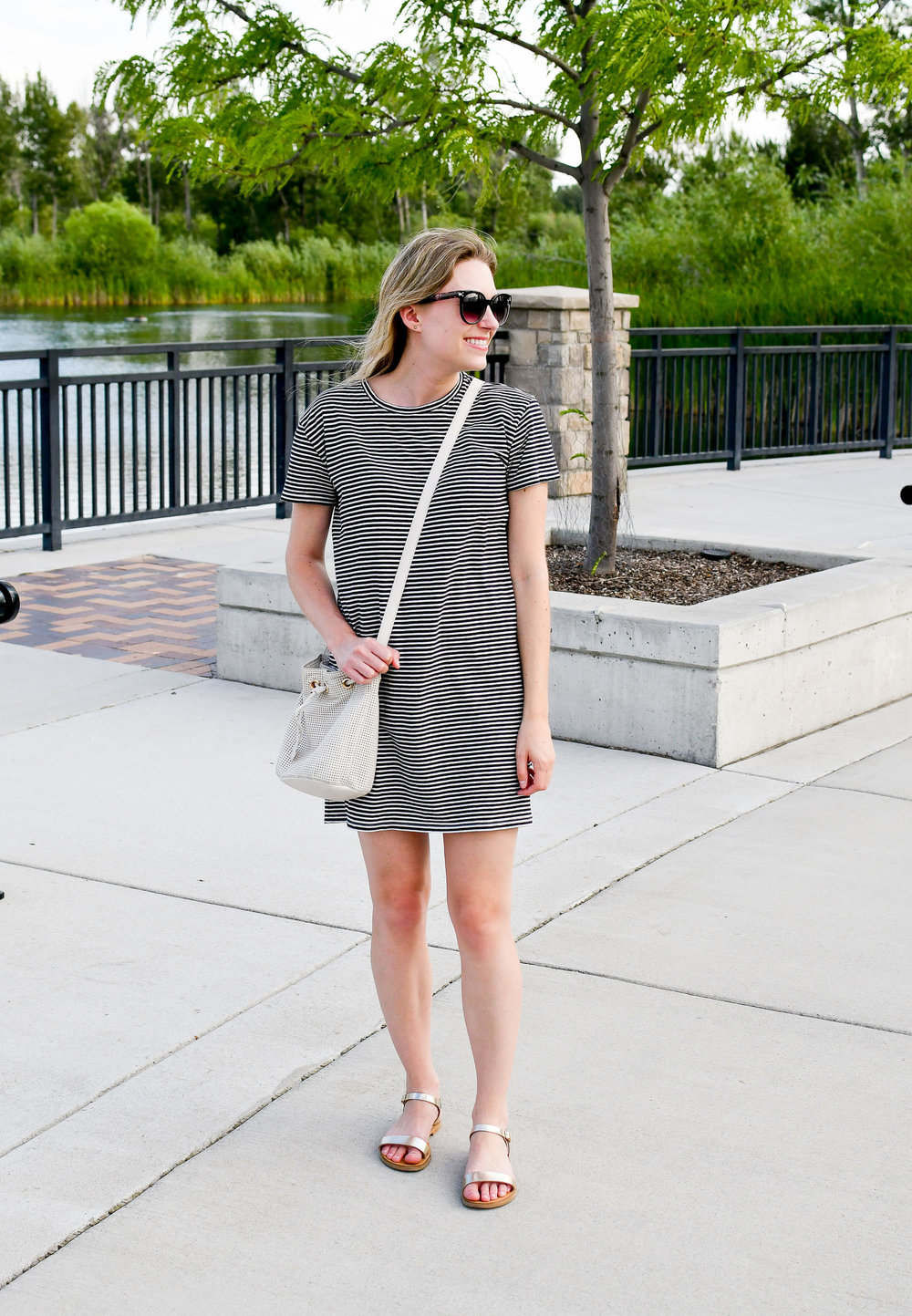 Casual summer striped dress outfit — Cotton Cashmere Cat Hair