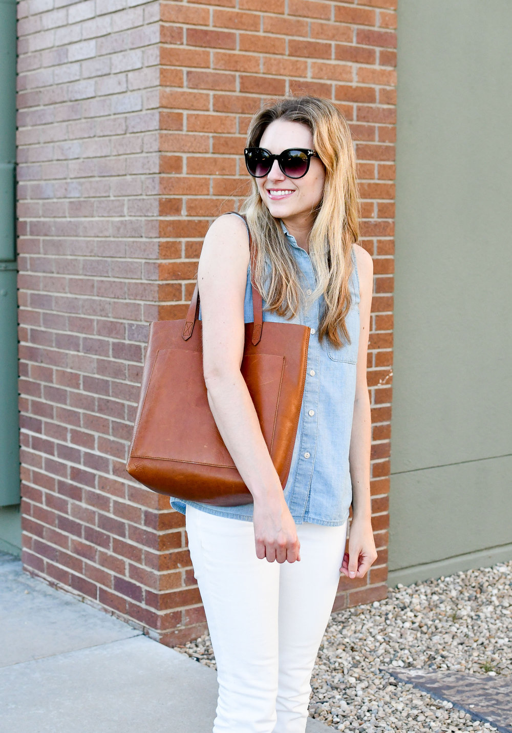Chambray shirt, white denim, Madewell Transport tote — Cotton Cashmere Cat Hair