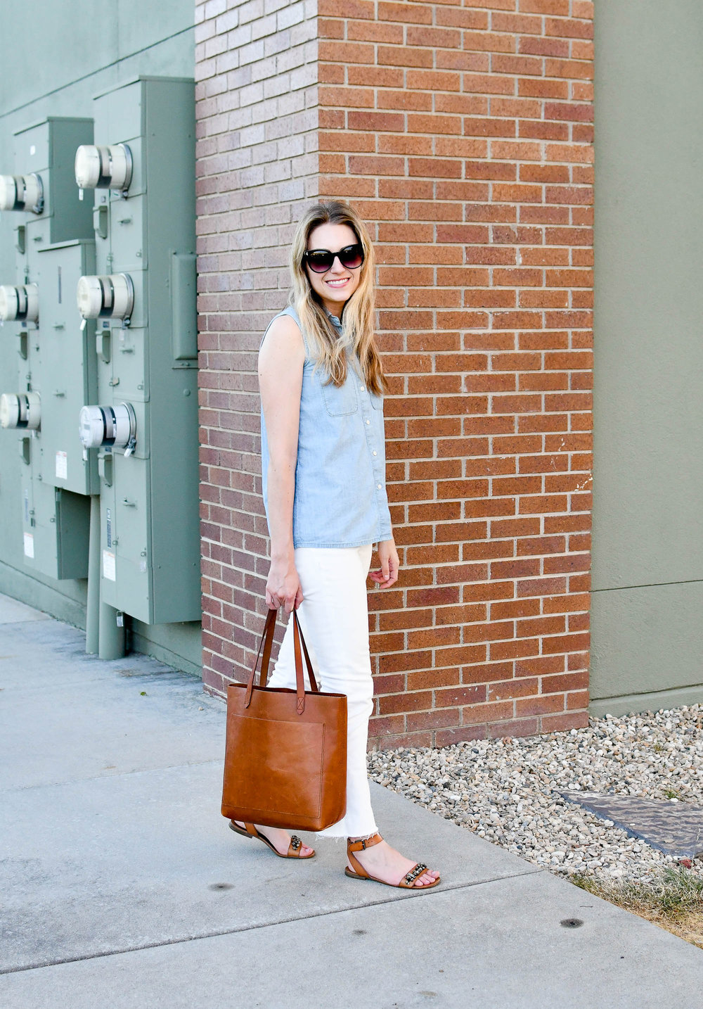 Chambray and white denim work outfit — Cotton Cashmere Cat Hair