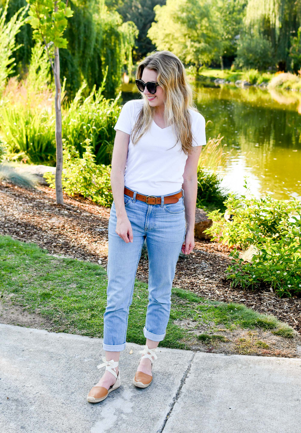 Summer outfit with Soludos espadrilles — Cotton Cashmere Cat Hair