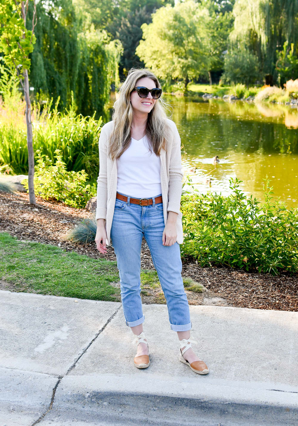 Boyfriend jeans outfit with white tee, cream cardigan, Soludos espadrilles — Cotton Cashmere Cat Hair