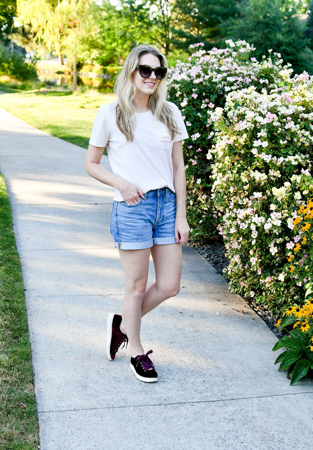 Burgundy velvet sneakers outfit with blush pink tee — Cotton Cashmere Cat Hair