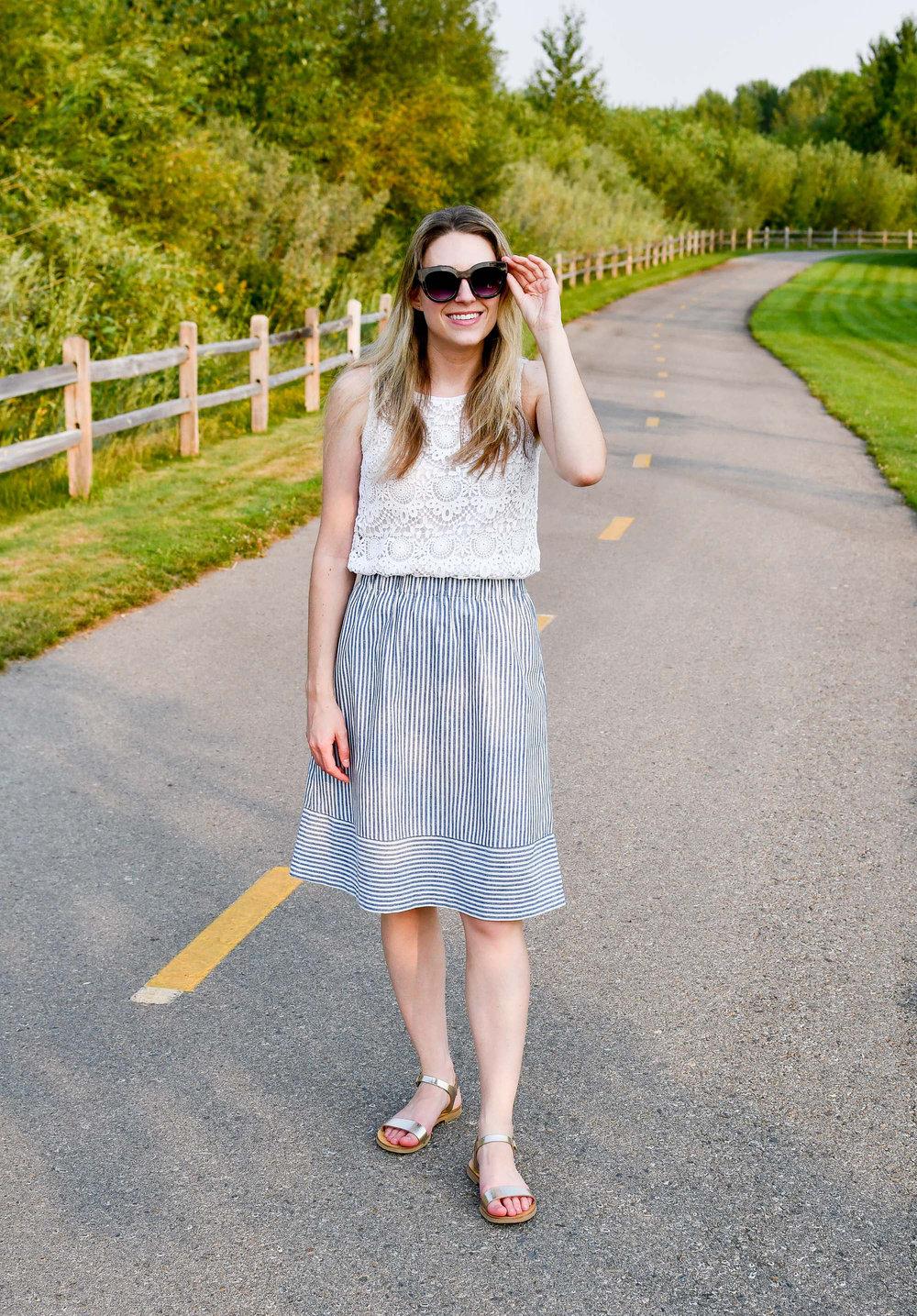 J.Crew Factory striped cotton-linen midi skirt — Cotton Cashmere Cat Hair