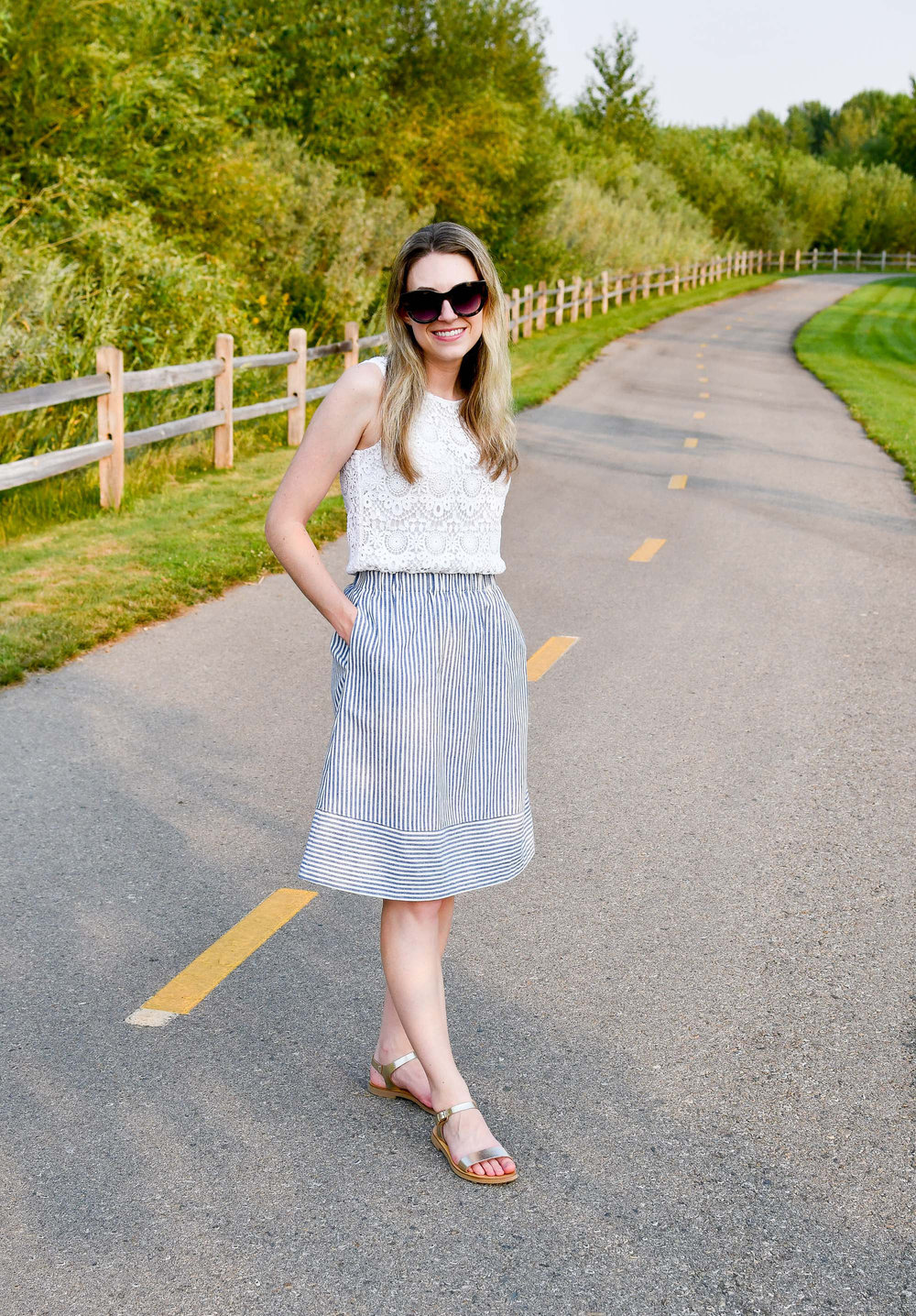 Summer work outfit with blue striped midi skirt — Cotton Cashmere Cat Hair