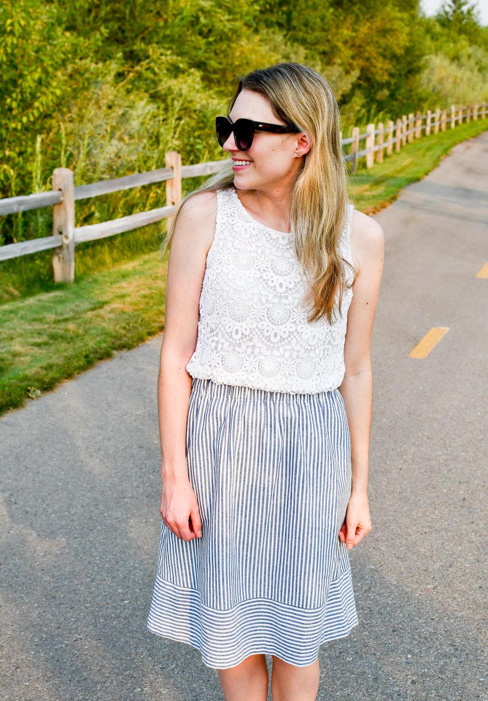 Striped cotton linen midi skirt outfit — Cotton Cashmere Cat Hair