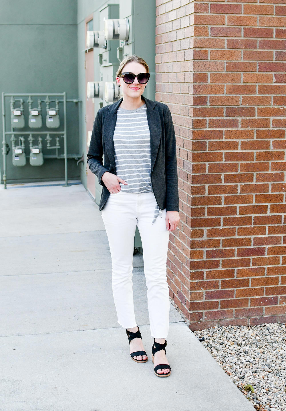 Grey blazer, white denim summer work outfit — Cotton Cashmere Cat Hair