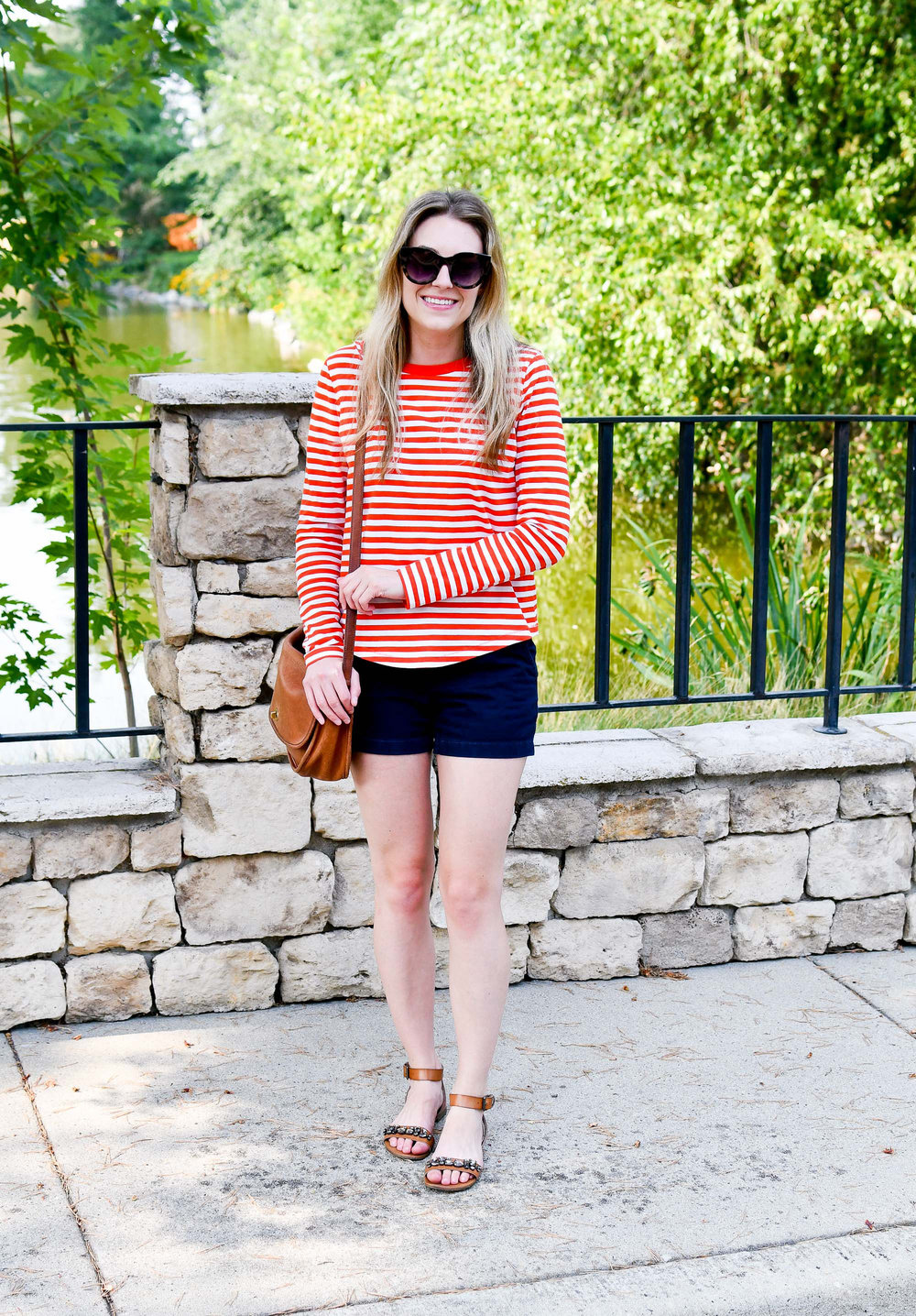 Red striped tee summer outfit with navy shorts — Cotton Cashmere Cat Hair