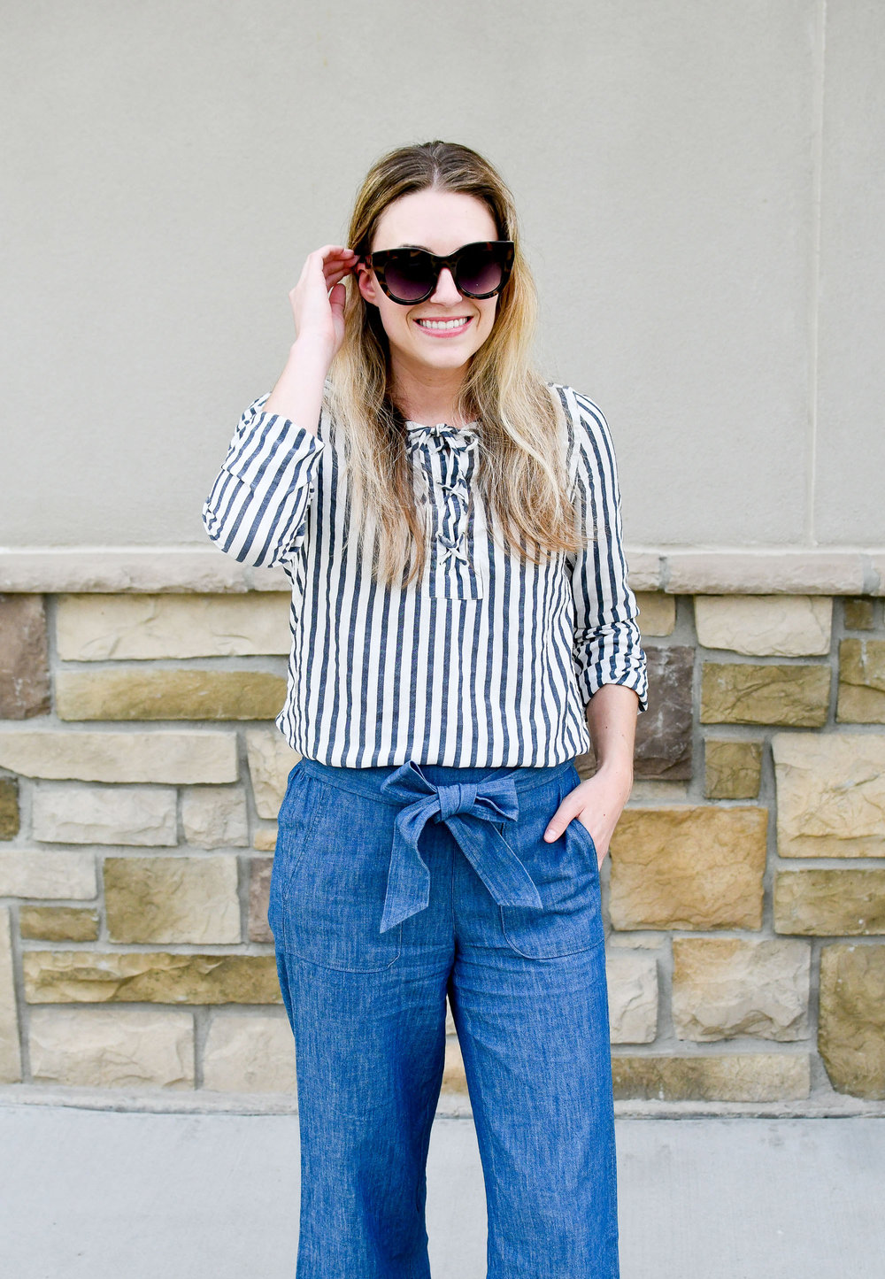 Work outfit with striped lace-up top — Cotton Cashmere Cat Hair