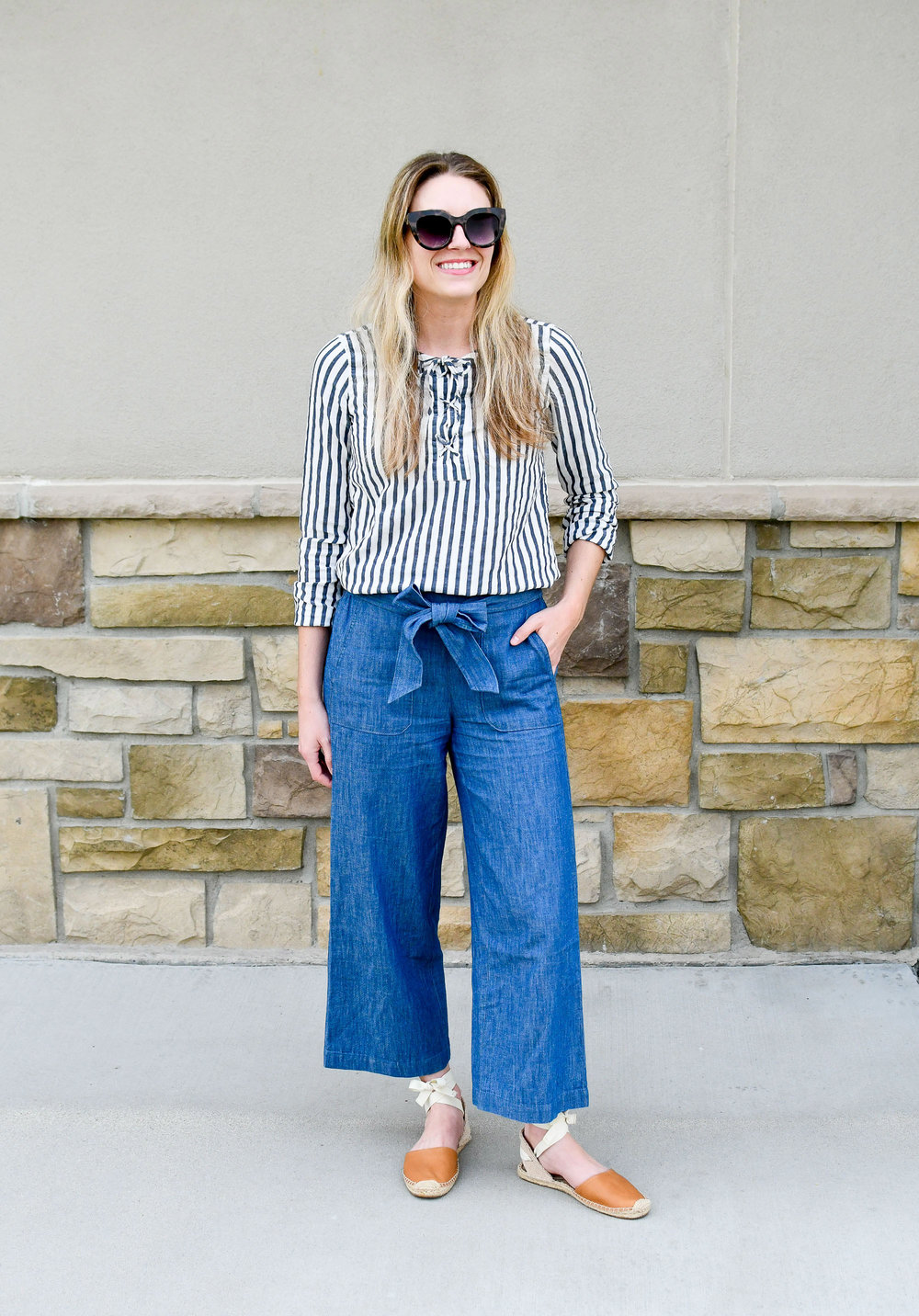 J.Crew Factory chambray tie-waist pants — Cotton Cashmere Cat Hair