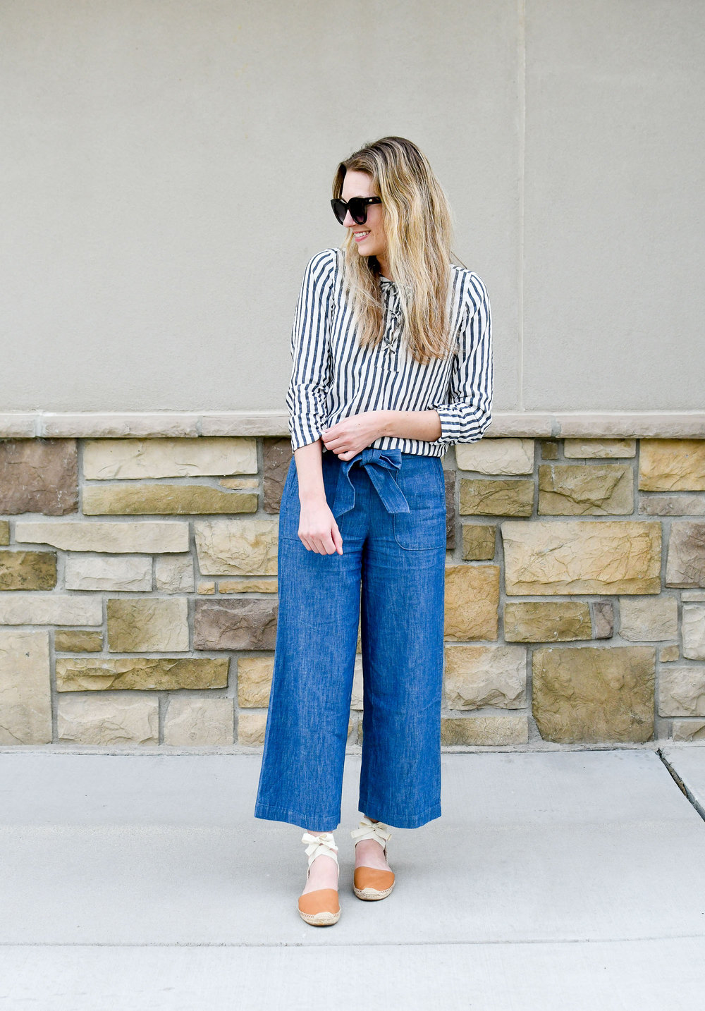 Summer work outfit with lace up top, chambray pants, espadrilles — Cotton Cashmere Cat Hair