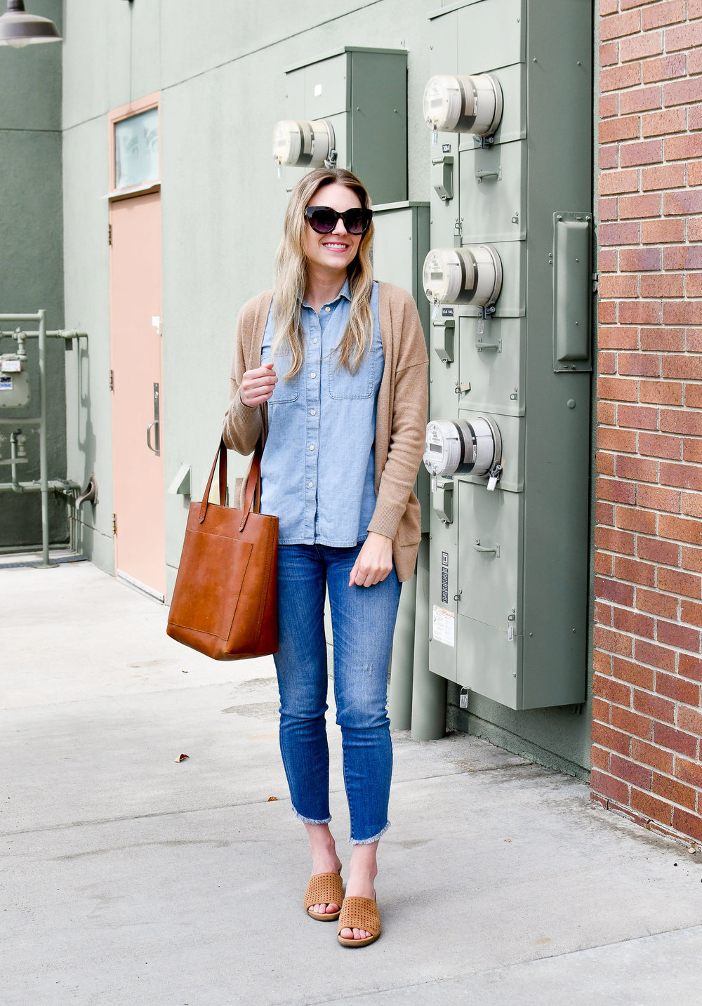 Double denim summer work outfit — Cotton Cashmere Cat Hair