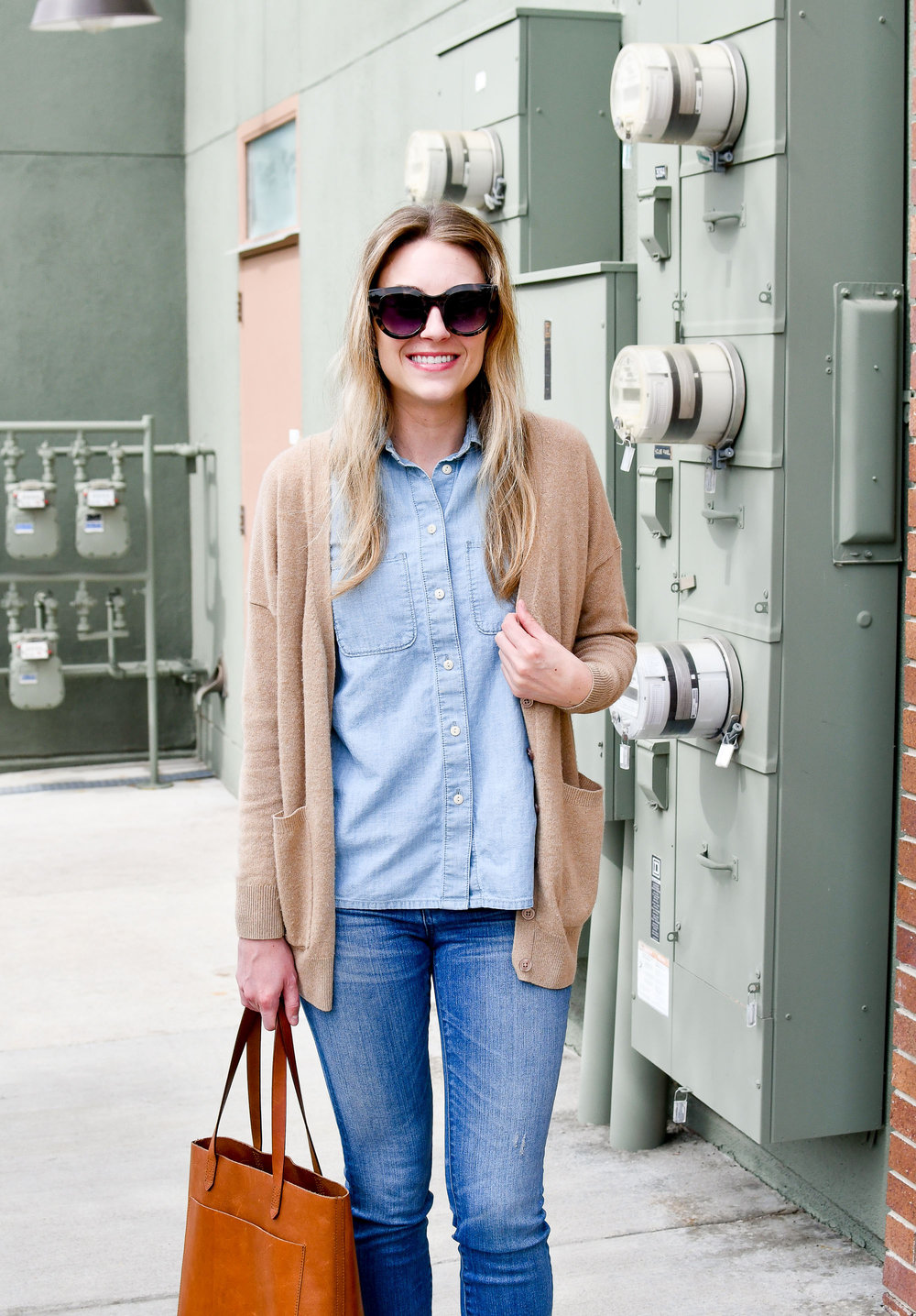 Chambray shirt outfit with camel cardigan — Cotton Cashmere Cat Hair