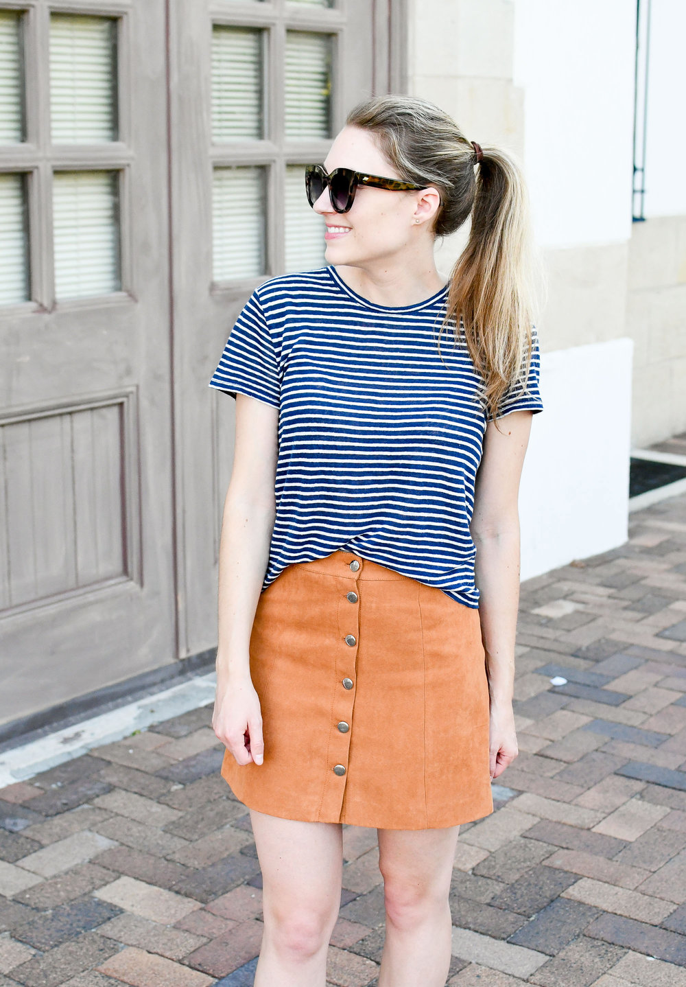 Everlane striped linen tee and tan button-front skirt — Cotton Cashmere Cat Hair