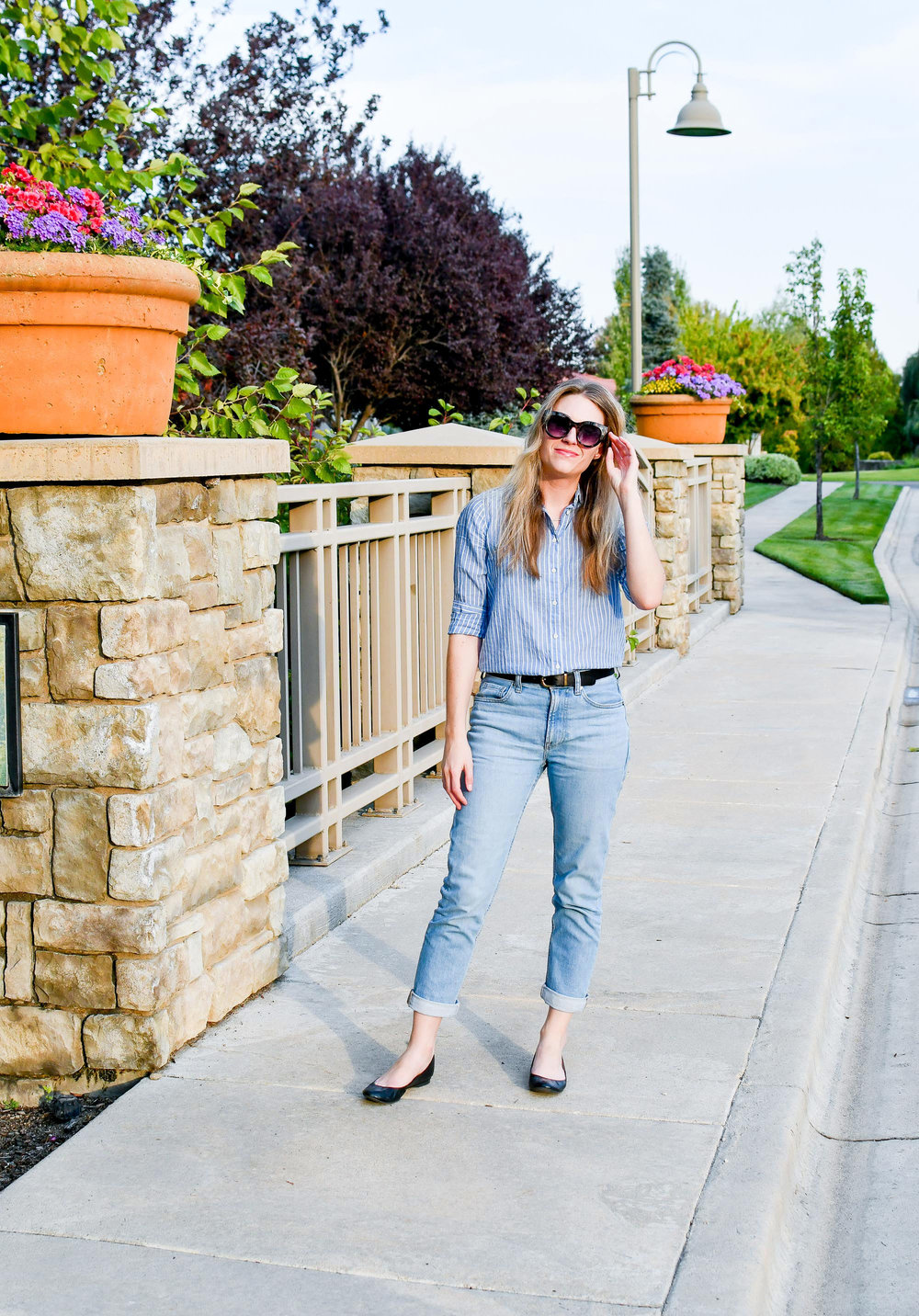 Denim and stripes late summer work outfit — Cotton Cashmere Cat Hair