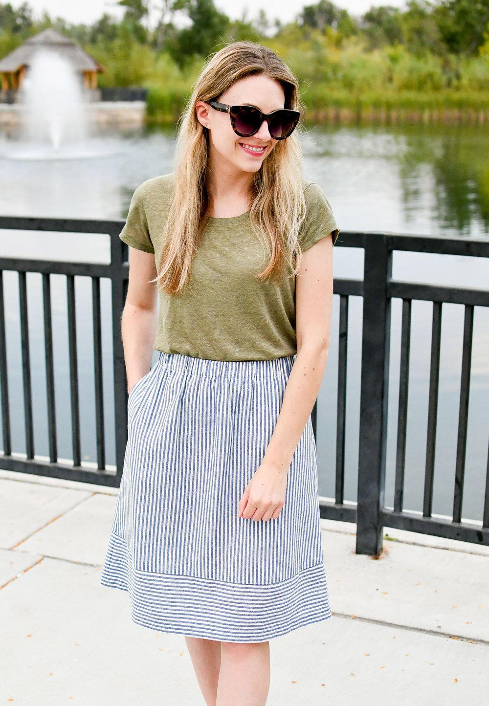 J.Crew Factory striped cotton linen midi skirt — Cotton Cashmere Cat Hair