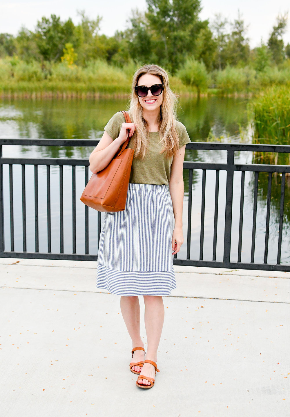 Summer work outfit with striped midi skirt — Cotton Cashmere Cat Hair