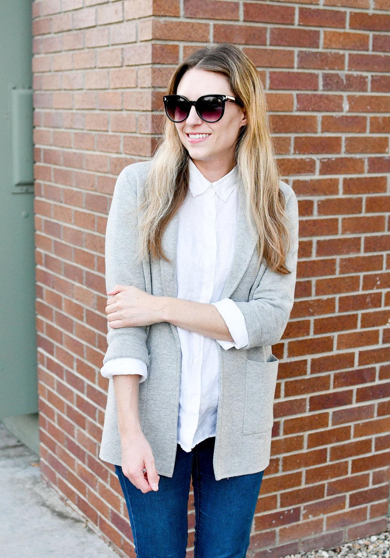 White linen shirt layered under grey sweater blazer — Cotton Cashmere Cat Hair