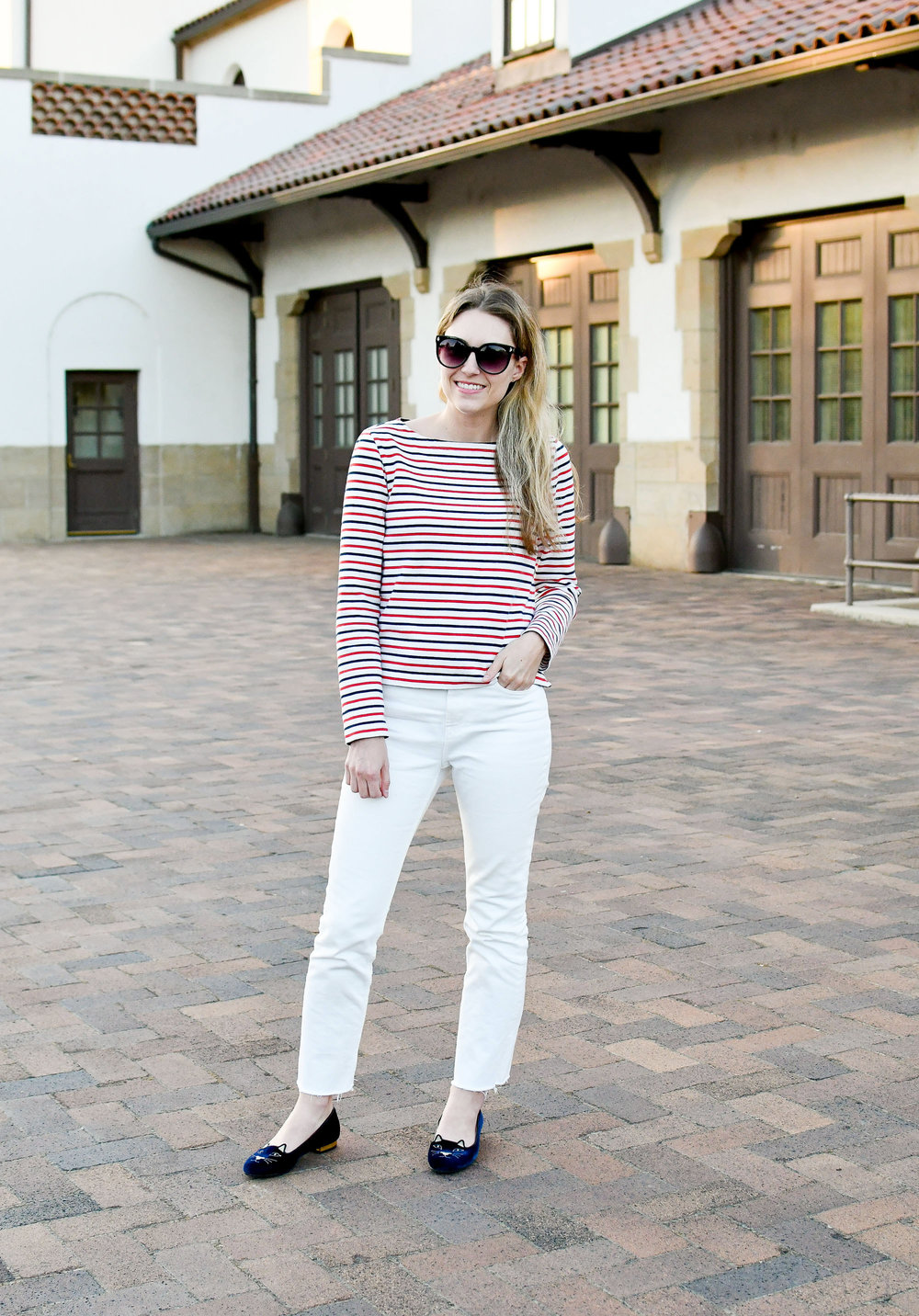 Early fall outfit with nautical stripes — Cotton Cashmere Cat Hair